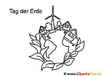 Häuser auf der Erde Tag der Erde Ausmalbild