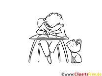 Hausaufgaben Bild, Malvorlage, Ausmalbild kostenlos