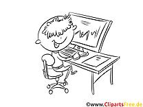 Junge am Computer Bild, Malvorlage, Ausmalbild kostenlos