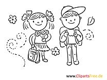 Junge und Mädchen Schulbilder-Malvorlagen