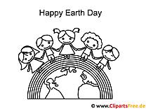 Kinder Regenbogen Tag der Erde Malvorlage
