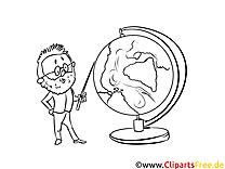 Lehrer und Globus Bild, Malvorlage, Ausmalbild kostenlos
