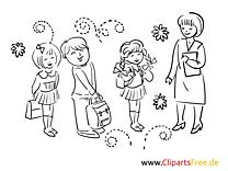 Lehrerin und Schulklasse Bild, Malvorlage, Ausmalbild