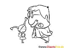 Malvorlage Lehrer und Schülerin