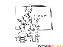 Matheunterricht Bild, Malvorlage, Ausmalbild kostenlos