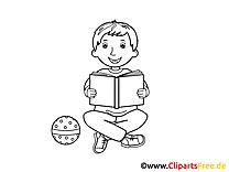 Schüler liesst Buch Bild, Malvorlage, Ausmalbild kostenlos