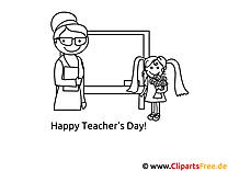 Schülerin gratuliert der Lehrerin zum Lehrertag Ausmalbild