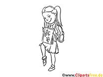 Schülerin, Mädchen, Girl Bild, Malvorlage, Ausmalbild kostenlos