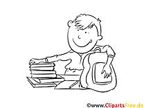 Schulbücher Bild, Malvorlage, Ausmalbild kostenlos