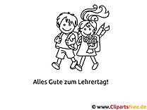 Zusammen in die Schule Ausmalbild gratis