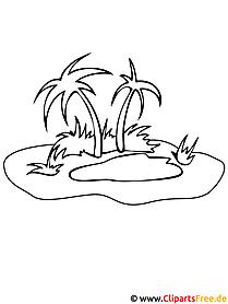 Insel mit Palmen Malvorlage gratis
