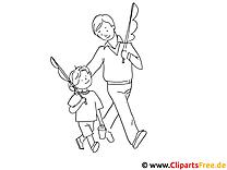 Papa und Sohn gehen Angeln Bild zum Ausmalen kostenlos