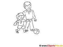 Papa und Sohn gehen Fussball spielen Ausmalbild zum Ausmalen kostenlos