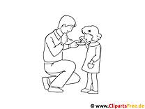 Zeichnen lernen für Anfänger Vater und Mädchen